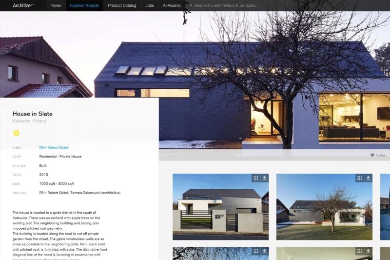 Dom w łupku pracowni RS+<br> w serwisie &#8221;Architizer&#8221;